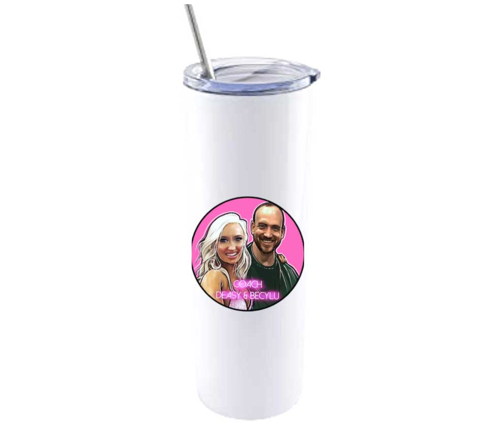 Tumbler glass with a stainless steel straw